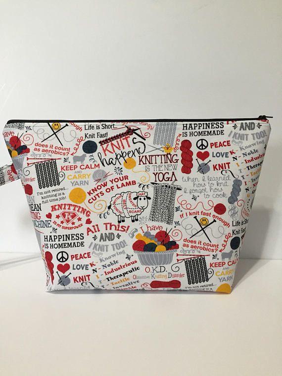 Knitting Project Bag, Zippered Project Bag, Knitting Accessory Bag, Craft Bag, Storage Bag, Travel Bag, Tote Bag, Zippered Tote Bag,
