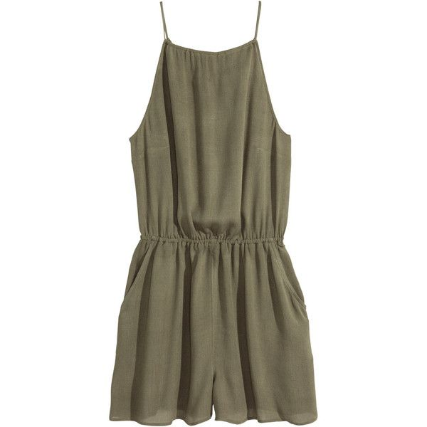 H&M Playsuit ($19) ❤ liked on Polyvore featuring jumpsuits, rompers, dresses, playsuits, khaki green, short romper jumpsuit, khaki romper, short romper, romper jumpsuit and brown jumpsuit