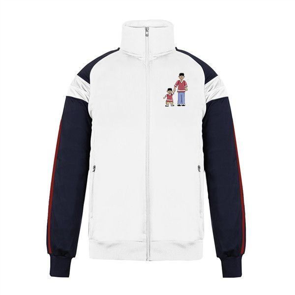 Custom Jacket No Minimum Varsity Track My Dad Men's Big & Tall Pieced... (90 BAM) ❤ liked on Polyvore featuring men's fashion, men's clothing, men's activewear, men's activewear jackets, mens activewear, mens track tops and mens track jackets