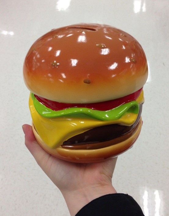 Hamburger piggy bank