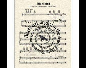 The Beatles Blackbird Song Lyric Art Print by WordsandMusicArt