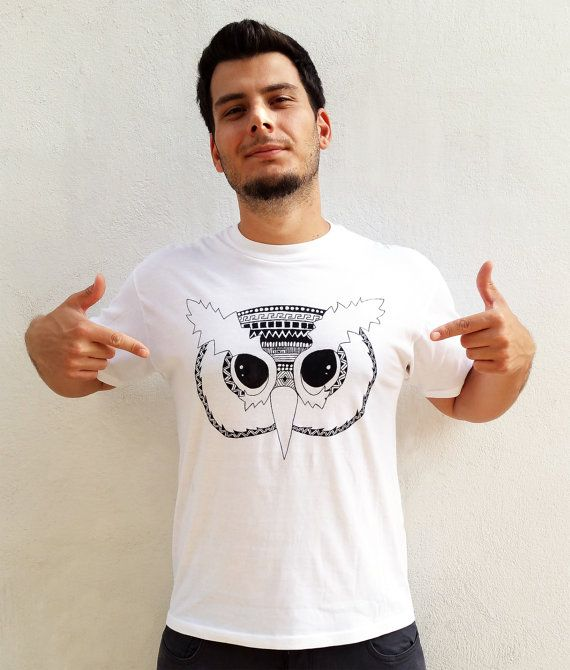 Ethnic Owl, Hand Painted Men's T-Shirt, Black & White, Graffiti Animal, White Round neck Cotton Shirt, Machine Washable, Free Shipping