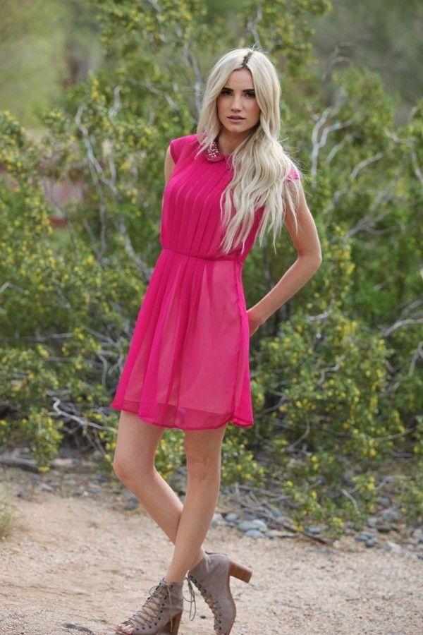 Fuchsia Studded Collar Shift Dress