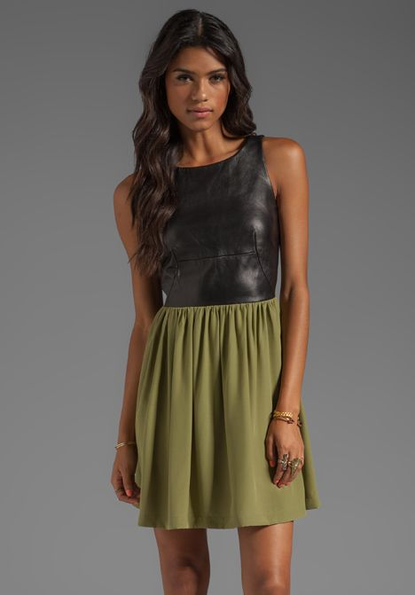 Leather Martini Dress in Black & Olive