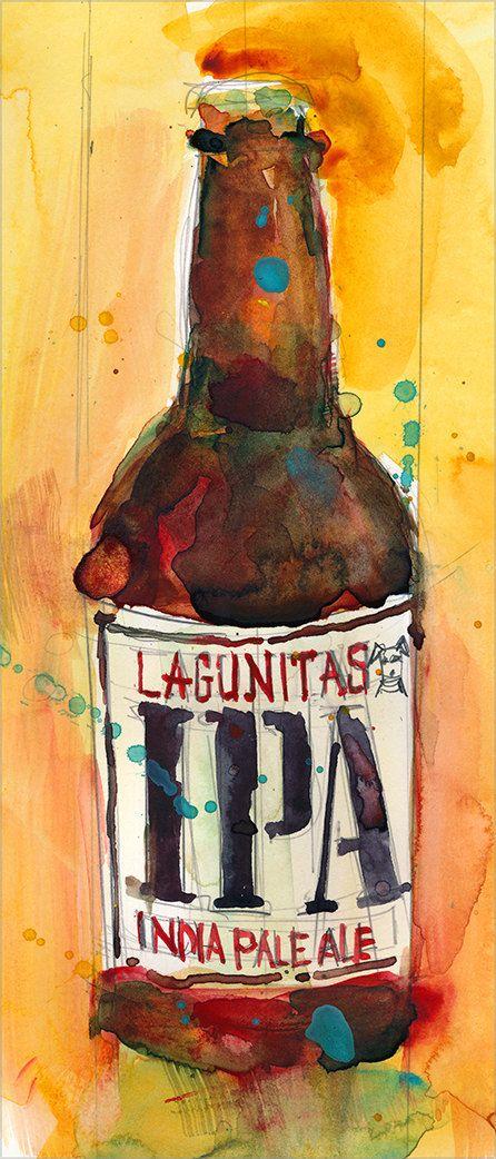 #IPA Lagunitas #Beer Print from Original Watercolor  by dfrdesign, $24.00