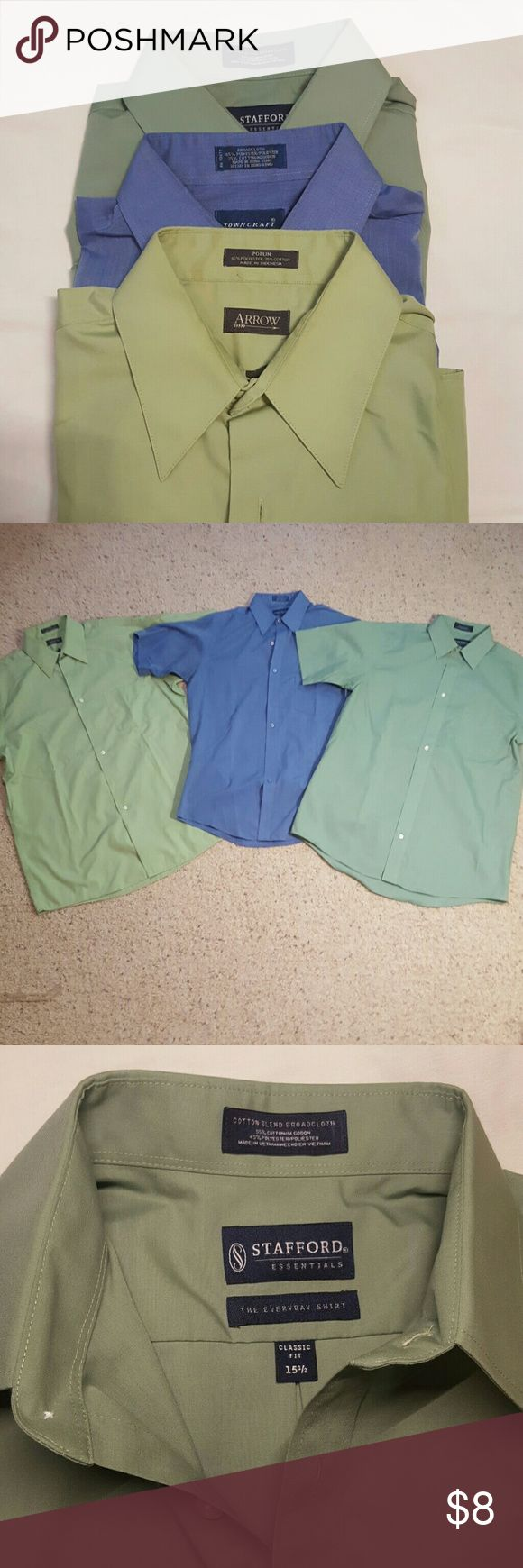 3 short sleeve men's dress shirts Get 3 short sleeved dress shirts for less than the price of one! Shirt # 1 is Arrow brand, light green, wrinkle free, medium, 15 1/2 collar. Shirt # 2 is Town Craft brand, medium blue, medium, 15 collar. Shirt # 3 is Stafford brand, green, 15 1/2 collar. All 3 shirts have been worn and show slight signs of wear inside the collar but nothing major. They have lots of life left in them. Please ask if you have any questions. Arrow Shirts Dress Shirts
