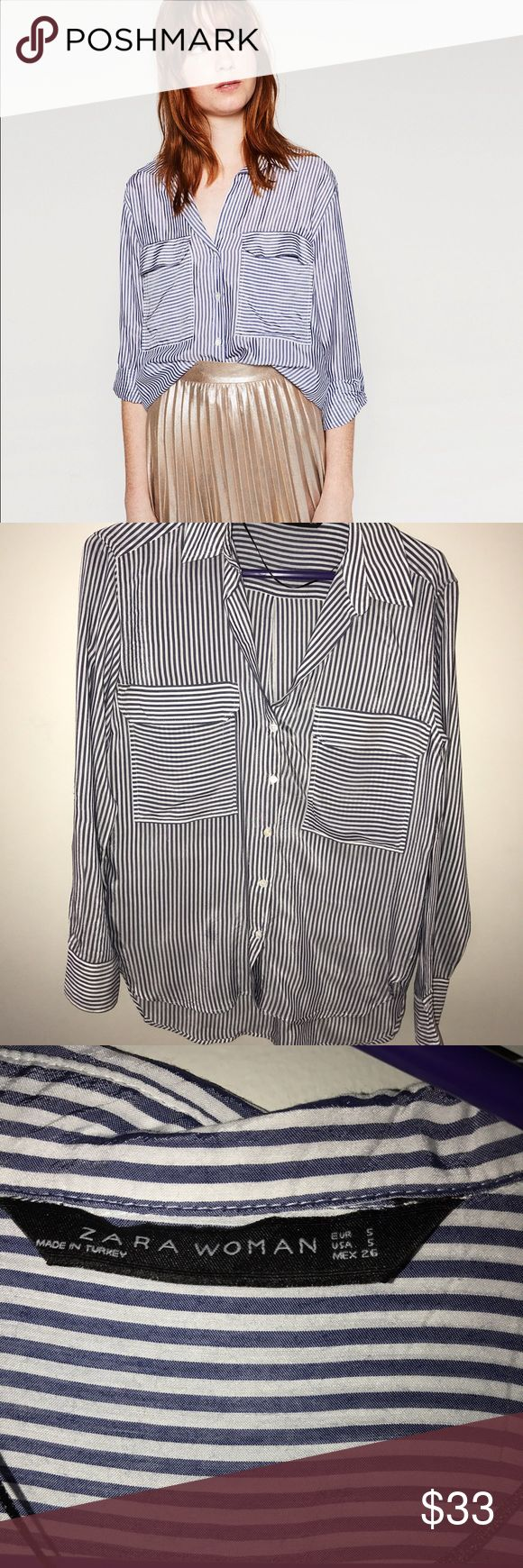 Zara Woman Striped Blue and White Blouse Perfect condition! This blouse from Zara, that I purchased in Paris, France is a size small, and retails for just $50. The shirt is great for all seasons! Fall/winter: paired with dark jeans and white sneakers, spring/summer: paired with white jeans and sandals. Zara Tops Blouses