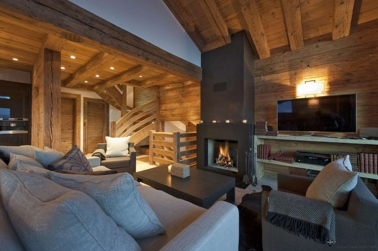 Inspiration chalet contemporain salon inspirations esc s pinterest chalets inspiration for Chalet design contemporain