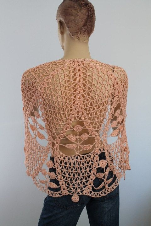 Apricot Cotton Lace Crochet Shawl   Holiday by levintovich on Etsy,      ♪ ♪ ... #inspiration_crochet #diy GB
