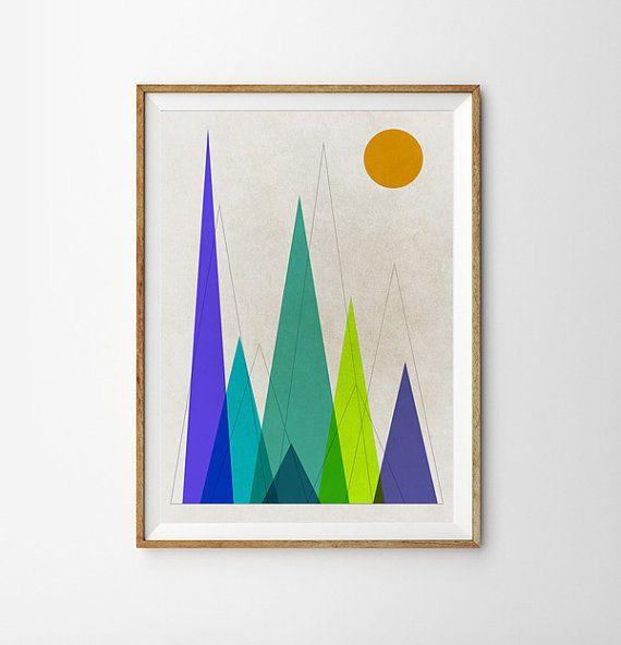 Mountain art Retro print Geometric Art Triangle art von Fybur