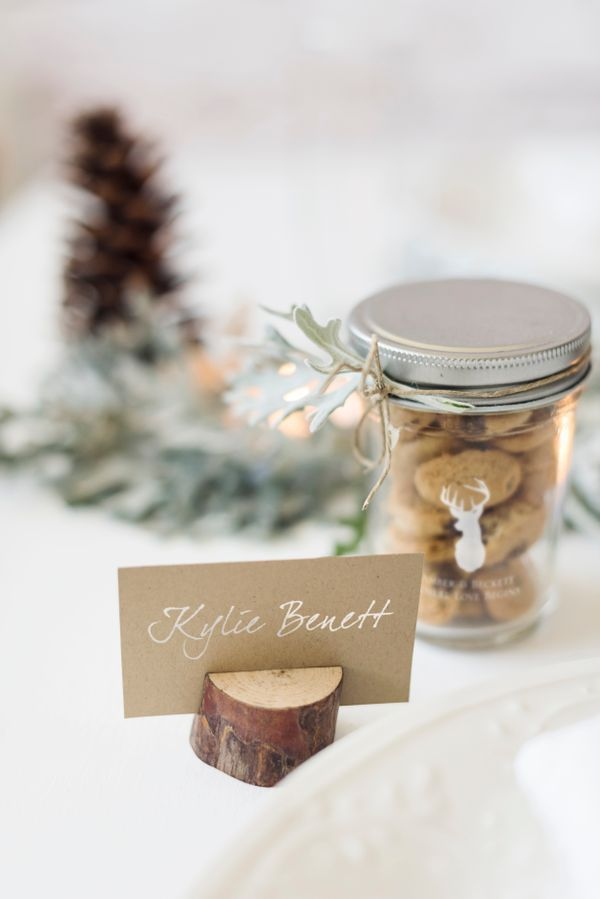 Use mini wood place card holders for a rustic touch