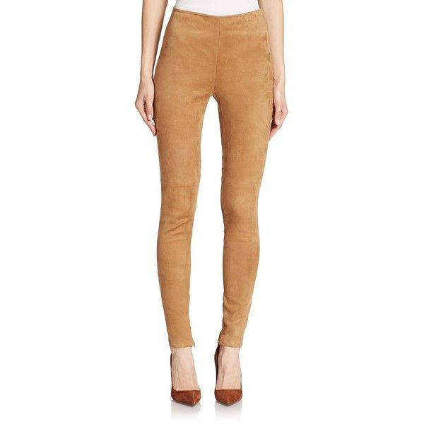 Ralph Lauren Collection Stretch-Suede Leggings (20.335 ARS) ❤ liked on Polyvore featuring pants, leggings, apparel & accessories, camel, camel leggings, ralph lauren collection, stretch trousers, suede leggings and stretch pants
