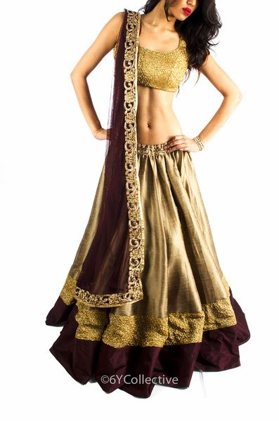 Coffee and Chocolate with Gold Sequinned Lehenga. Opulent!