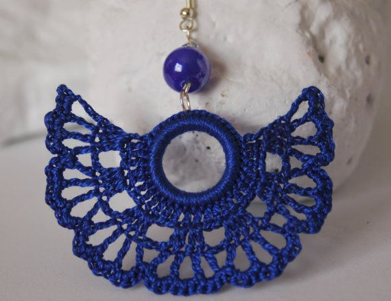 Crochet earrings - Large crochet earrings - Crochet earring jewelry - In blue- Fan style    This pair is crocheted with 100% cotton yarn, so theyre