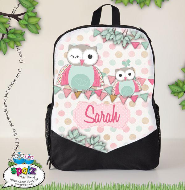 Pastel owls personalised kids backpack · kids bagsclothing labelskids