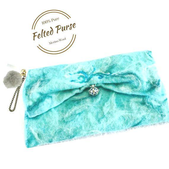Felted Wool Clutch Purse Aqua Designer Bag. Needle Felted
