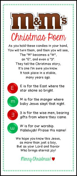 It is an image of Epic M&m Christmas Poem Printable
