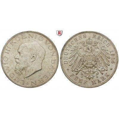 Deutsches Kaiserreich, Bayern, Ludwig III., 5 Mark 1914, D, f.st, J. 53: Ludwig III. 1913-1918. 5 Mark 1914 D. J. 53; fast… #coins