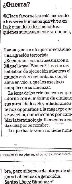 Tal día como hoy: ¿Guerra?. La Voz de Almería, 6 febrero 2003. Uso bastardo del lenguaje.