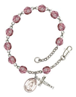 St. Odilia Silver-Plated Rosary Bracelet with 6mm Amethyst Fire Polished beads