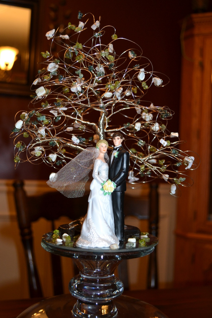 Our cake topper. Hand-made by an artist through Etsy.com (Creations by Apryl). The cake will have three layers (oval shaped) with sage-green ribbon around the base of each layer and white butter-cream flowers with pale green edible pearls.