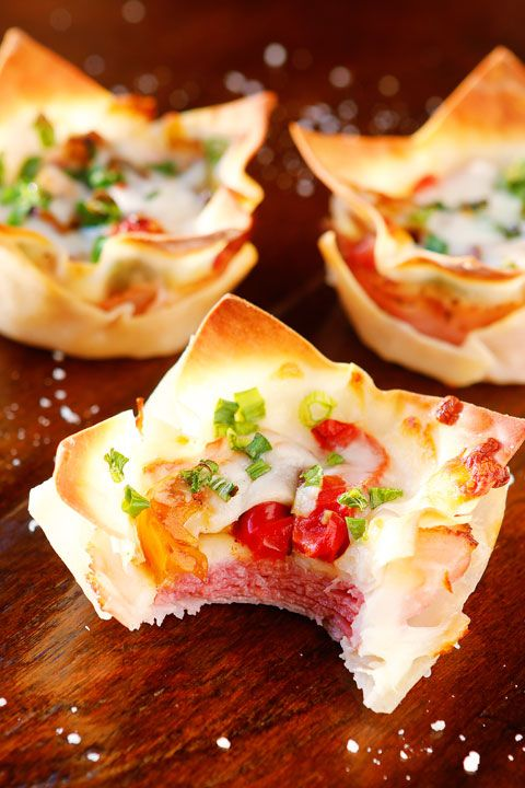 Ham and cheese, salami and bell peppers in a crispy hand-held cup! Perfect for dinner or appetizers!