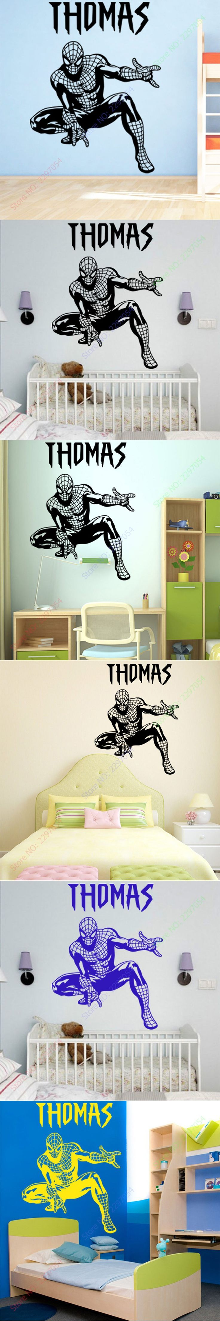 Free Shipping Personality NAME Cool Spider-Man Wall sticker for Bedroom and living room Children KIDS ROOM Home Decor 60x45cm $12.99