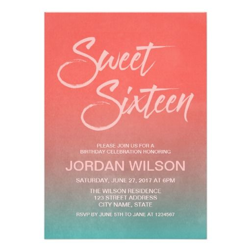Best Teens Birthday Invitations Images On Pinterest - Contoh invitation card sweet seventeen birthday party