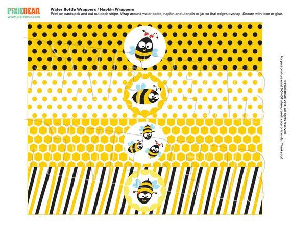 Bee Water Bottle Label Bee Decor 1st Bee Day Editable Birthday Bee Theme Templett BEE1 Bee Birthday Decorations Bee Favor Tags Bee Banner