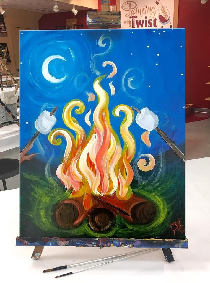 Campers Have S More Fun Brings Up Summer Night Memories Painting Art Projects Simple Canvas Paintings Small Canvas Art