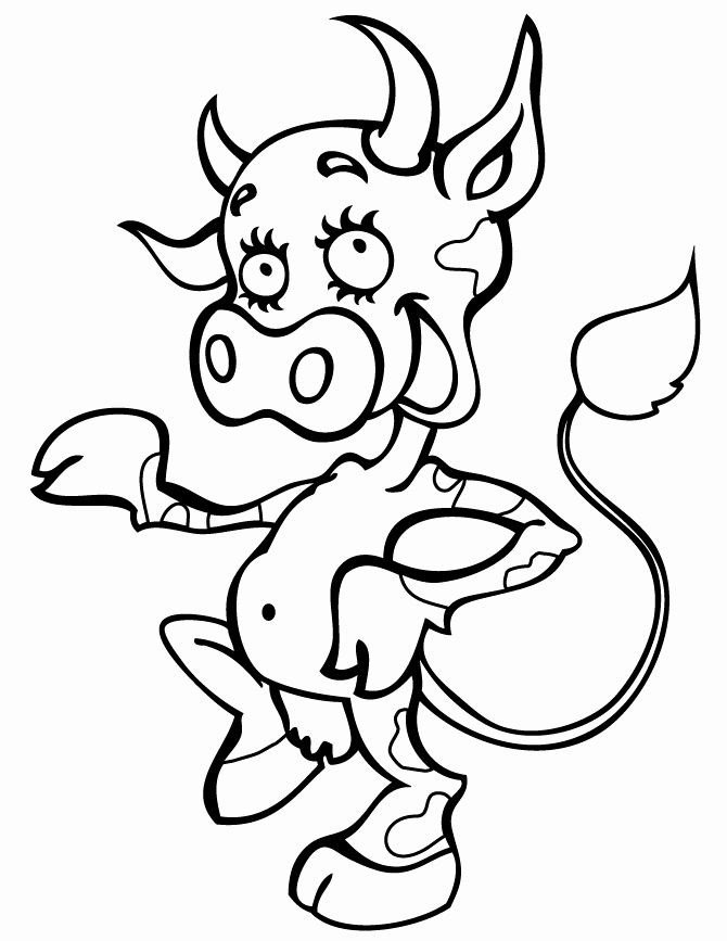 Cow Printable Coloring Pages Lovely Smiling Happy Cow For Kids Coloring Page In 2020 Cow Coloring Pages Coloring Pages Animal Coloring Books