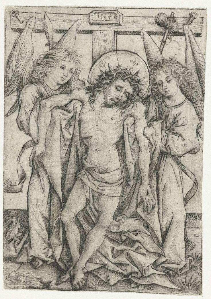 Meester van het Amsterdamse Kabinet | Het lichaam van Christus ondersteund door twee engelen, Meester van het Amsterdamse Kabinet, 1473 - 1477 | Lichaam van de gestorven Christus wordt ondersteund door twee engelen. Lans, spons en kruis op de achtergrond.