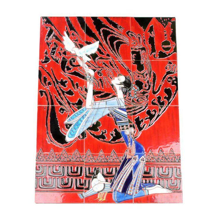 Geisha Tile Wall Art Plaque