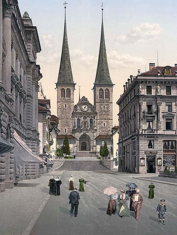 Picture Of The Cathedral Lucerne Switzerland This Color Photochrome Print Was Created Between