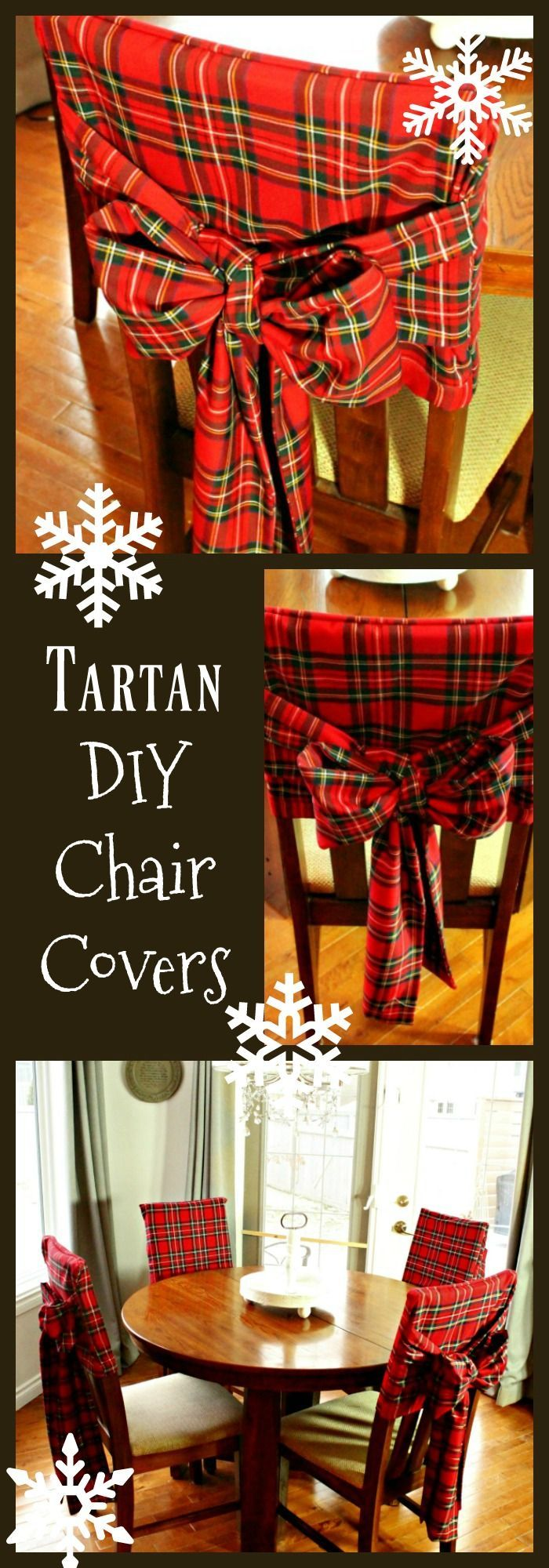 Diy christmas chair covers - Diy Christmas Tartan Chair Covers