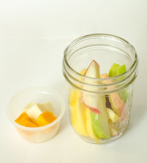 Healthy Snacks in Jars - Apple Slices + Cheese Cubes