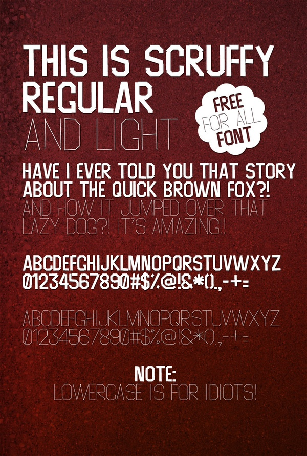 Scruffy Uppercase Only Font by Tomas Pasma, via Behance
