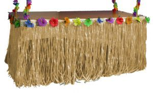 Transform your tables with our Tiki Table Skirts!