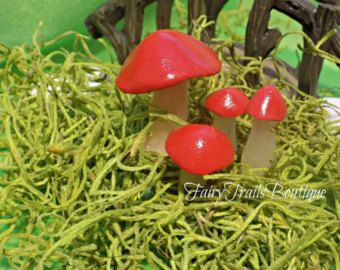 Set of 4 Red Polymer Clay Handcrafted Fairy Garden Mushrooms Dollhouse Miniatures Gnome Accessories Fairy Garden Accessory Fairy Display Kit