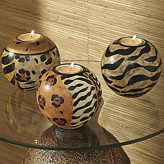 Possible gourd idea New dining room decor is gonna be safari!! animal print candle orbs