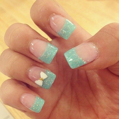 Turquoise glittery french tip nails , the bow does not convince me for these nails though