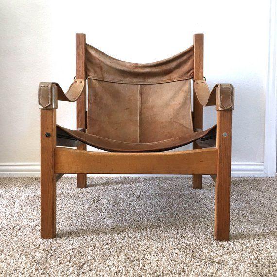 Mid Century Sling Chair Vintage Leather Wood Safari Club Chair Distressed Living Room Furniture Chair Leather Lounge Chair Sling Chair