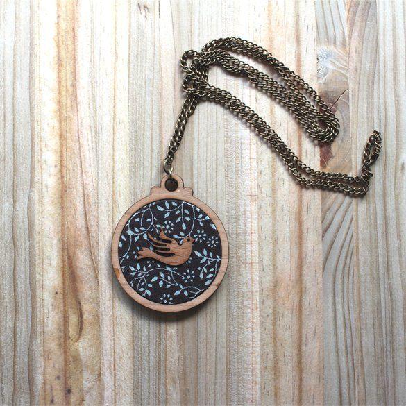 Kosbaar | Pendant Necklace |  Timber & fabric inlay with timber veneer bird…