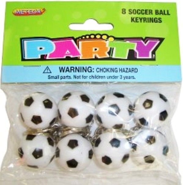 Soccer Ball Football Plastic Keychains Keyrings Party Favours - 8 Pack