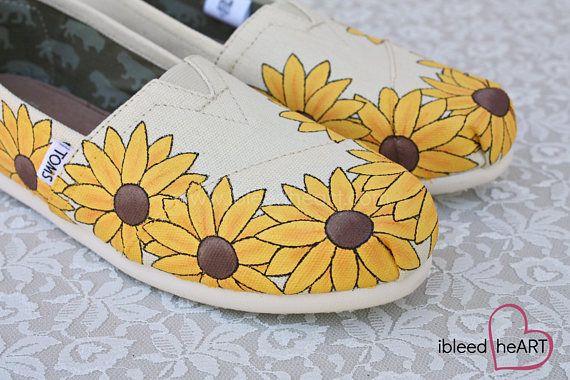 Costumbre de girasol amarillo pintado zapatos de TOMS  campos
