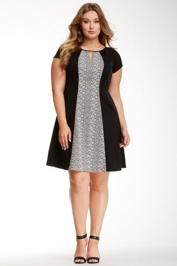 Sandra Darren Keyhole Contrast Panel Dress (Plus Size) by Sandra Darren on @HauteLook