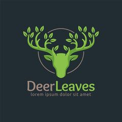 Deer Leaf logo design template, easy to customize. Deer Leaves