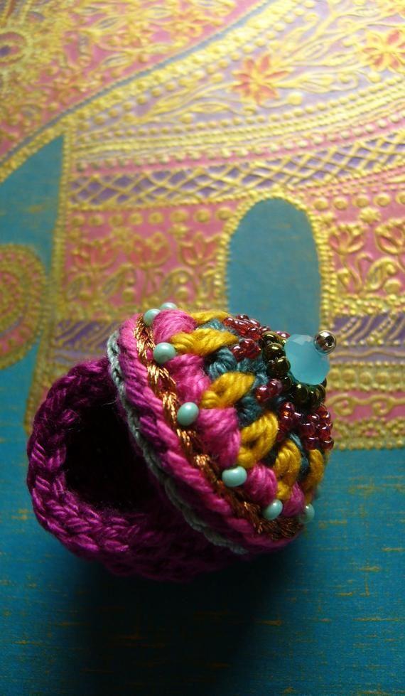 Häkelring Crochetring Ring Boho Colorful Crochet Pinterest
