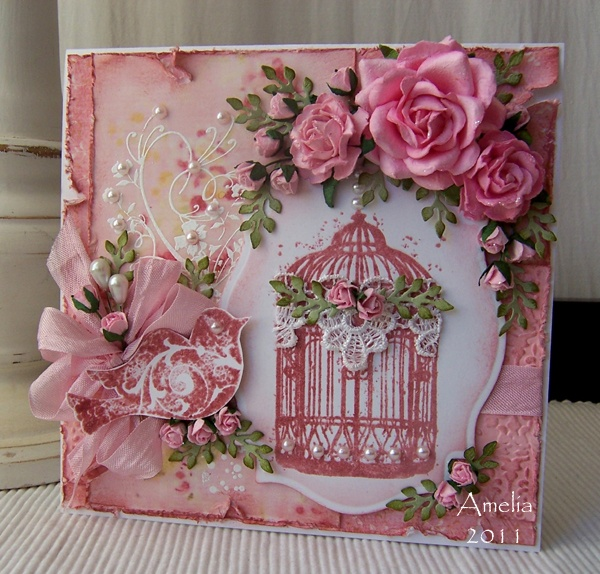 vintage shabby romantic altered art with bird, roses, birdcage