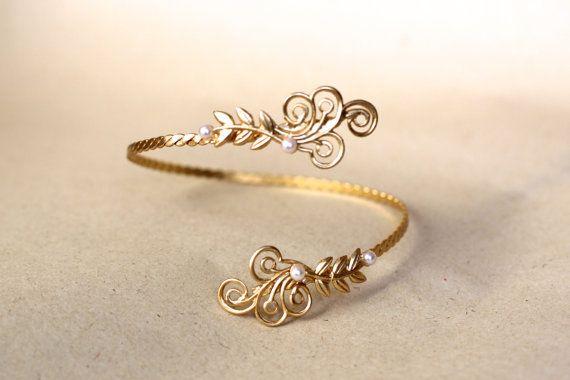 Swirls of Joy Gold Arm Band Roman Arm Cuff Bridal by avigailadam, $60.00